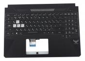 Клавиатура для ноутбука ASUS FX505DD топкейс черный, клавиши черные с подсветкой