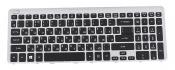 Клавиатура для ноутбука Acer Aspire V5-571 оригинальная черная с серебристой рамкой