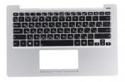Клавиатура для ноутбука ASUS X201E топкейс серебристый, клавиши черные