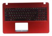 Клавиатура для ноутбука Asus X540LA топкейс красный клавиши черные, без тачпада