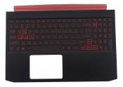 Клавиатура для ноутбука Acer Nitro 5 AN515-54 топкейс черный, клавиши черные с подсветкой