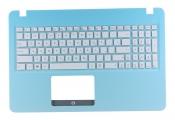 Клавиатура для ноутбука Asus X540LA топкейс голубой клавиши белые, без тачпада