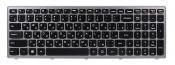 Клавиатура для ноутбука Lenovo (серебристая рамка) IdeaPad Z500 P500 Z500A Z500G Z500T черная