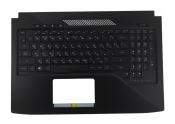 Клавиатура для ноутбука ASUS GL503VM топкейс черный, клавиши черные, с подсветкой